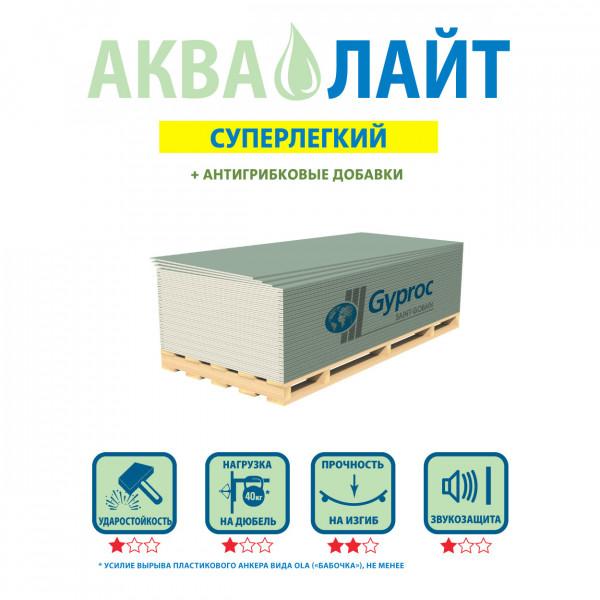 Гипсокартон влагостойкий (ГКЛВ) Gyproc (Гипрок) Аква Оптима 2500х1200х12,5мм