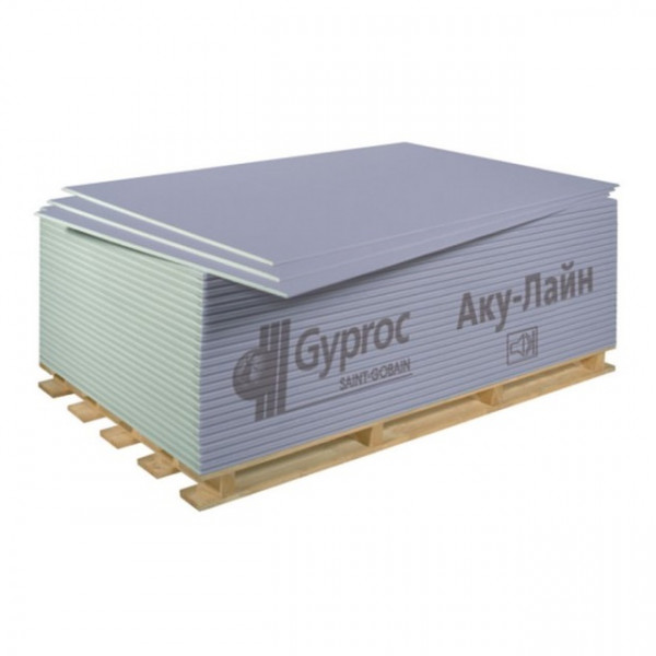 Гипсокартон (ГКЛ) Gyproc AKU-Line / Гипрок АКУ-лайн 2500х1200х12,5 мм звукоизоляционный