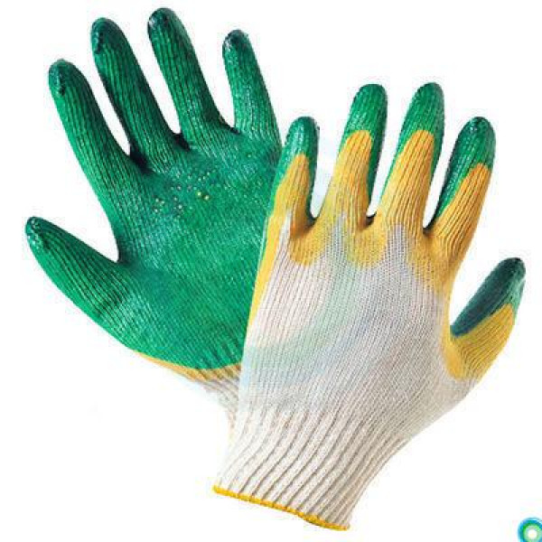 Перчатки х/б с двойным латексом 10кл, цвет: зеленый